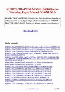 Kubota Tractor Model B6000 Service Workshop Repair Manual