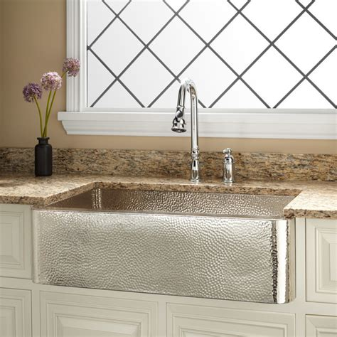 """33"""" Reena Nickelplated Hammered Copper Farmhouse Sink"""