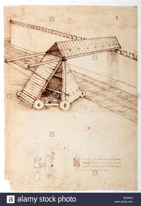 siege vinci design for a siege machine with covered bridge by leonardo