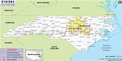 919 Area Code Map, Where is 919 Area Code in North Carolina