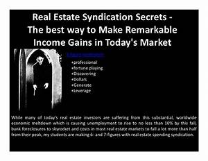 Real estate syndication secrets the best way