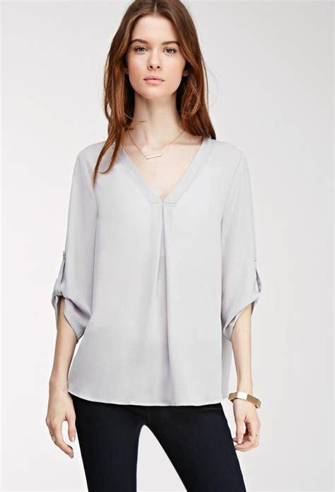 chiffon blouses forever 21 tab sleeved chiffon blouse