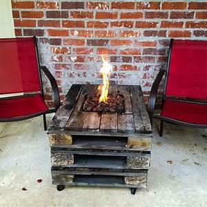 Gas, Fire, Pit, Built, Into, A, Pallet, Table, Fire, Pit, Ideas