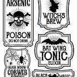 Labels Halloween Printable Bottle Printables Potions Potion Label Apothecary Bottles Template Howtonestforless Easy Stickers Signs Craft Spooky Holiday Party Hallowen sketch template