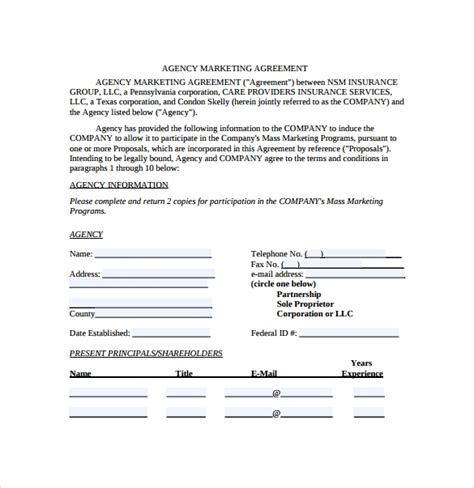 marketing agreement template    documents