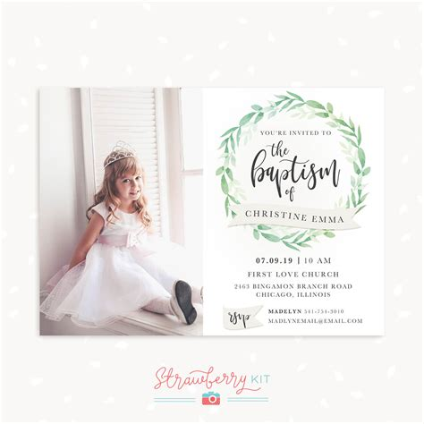 "Baptism Invitation Template with photo ""Greenery"