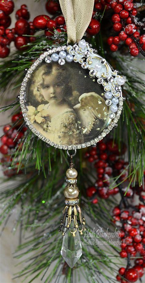vintage christmas ornaments to make embellished dreams vintage christmas angel ornament butterbeescraps and ice resin