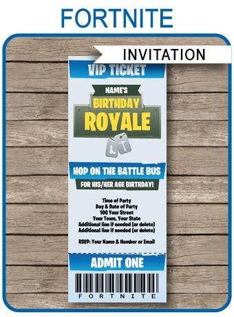fortnite party ticket invitation template fortnite
