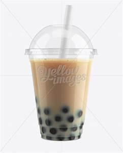 Chocolate Bubble Tea Cup Mockup - Front View in Cup & Bowl ...