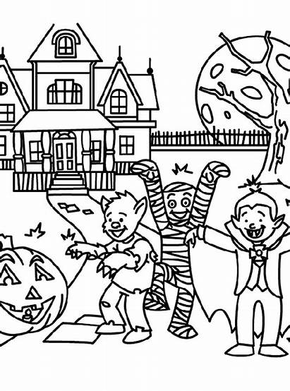 Coloring Halloween Pages Printable Treats Haunted Sheets