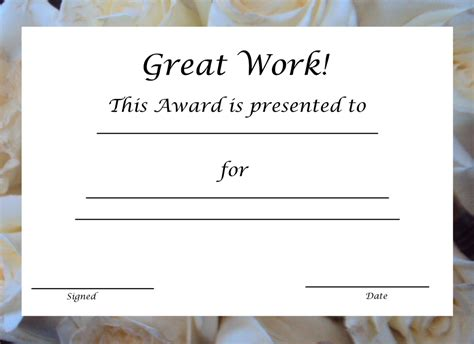 printable award certificate template  printable