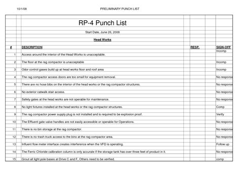 Project Contractor Punch List Template Excel Project