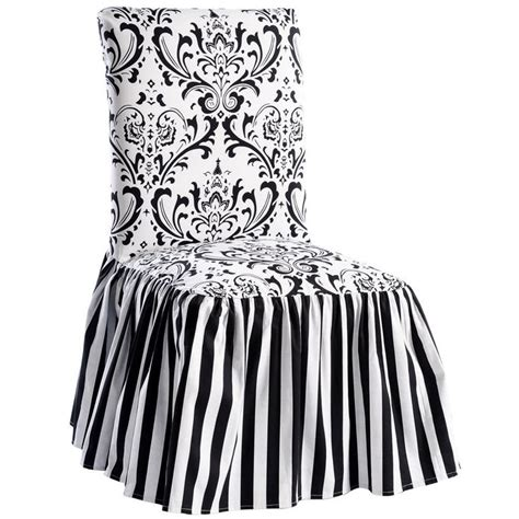 black white damask and stripe dining chair cover set of 2
