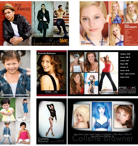 acting dancing modeling post card zed card business card