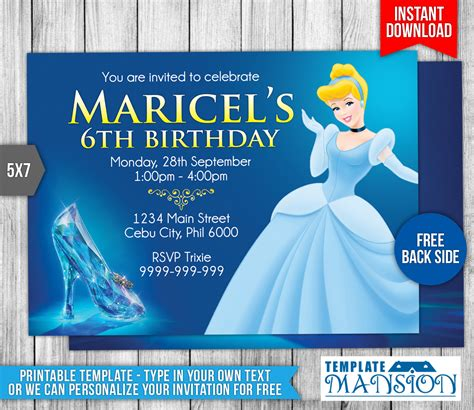 Cinderella Birthday Invitation #2 By Templatemansion On