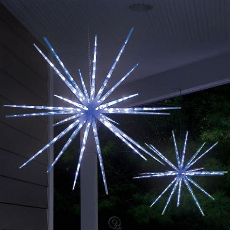 hanging star christmas lights hammacher schlemmer the moravian star light show led blue