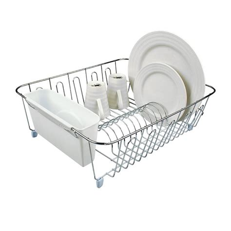 kitchen dish storage dish drainer chrome pvc with caddy large white 1554