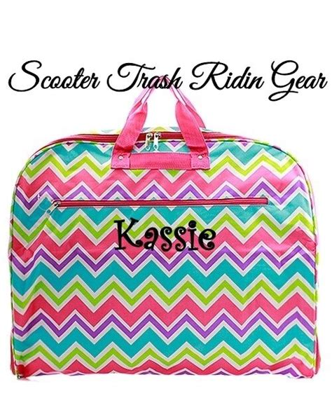 personalized garment bag tote pink aqua multi chevron