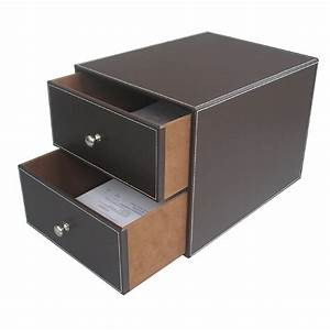 Brown 2 drawer leather office desk file cabinet organizer for Document organizer box