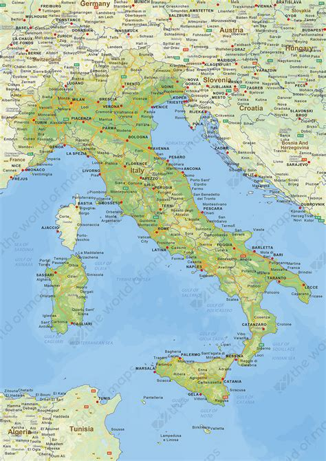 digital physical map  italy   world  mapscom