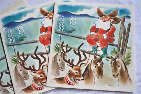 Choose between a variety of paper finishes and sizes. Vintage Christmas Cards Cowboy Santa on the Reindeer Ranch | Etsy | Artiesten, Kerst