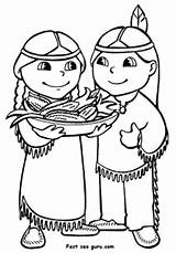 Coloring Printable Indians Thanksgiving Fastseoguru sketch template