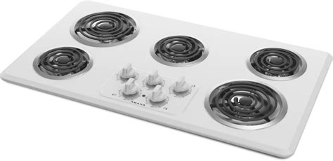 amana acckfw   electric cooktop   heating elements  controls chrome drip