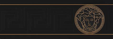 Versace Home Wallpaper Border Medusa Head Black Gold Gloss