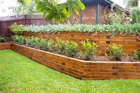small timber retaining wall timber sleeper retaining wall backyard pinterest retaining wall design landscape timbers