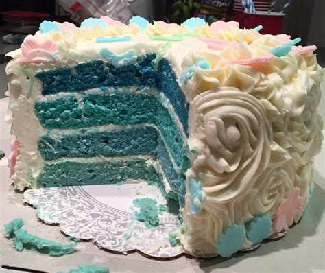 ombre blue  pink baby shower gender reveal cake