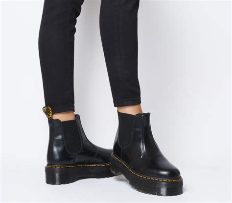 dr martens  quad chelsea boots black leather ankle boots