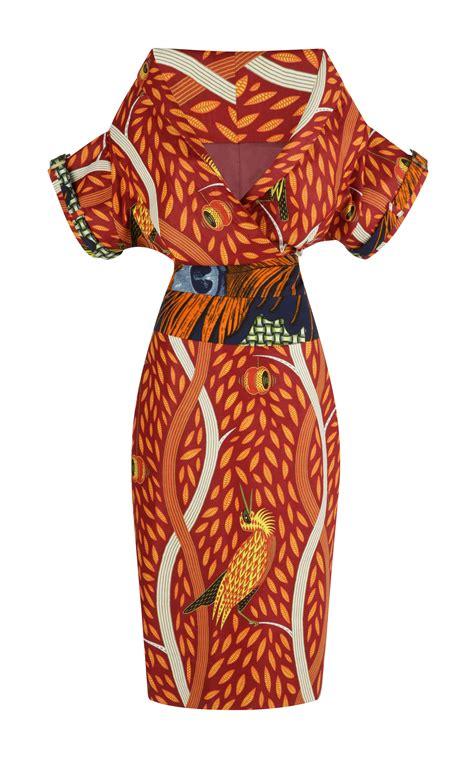 stella jean delia kimono dress  red red multi lyst