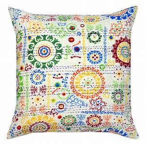 18x18, White, Decorative, Multi, Round, Circle, Cotton, Throw, Pillow, Cover