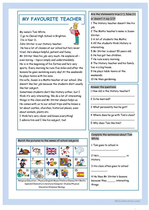 favourite teacher worksheet  esl printable