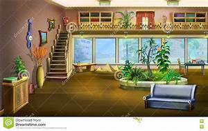 Cartoon Interior Design Of Vintage Living Room Background ...