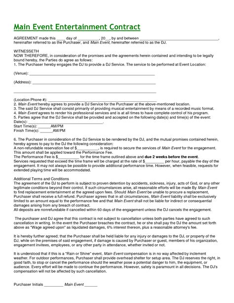 Mobile Dj Contract Template by Mobile Dj Contract Event Mobile Dj Service