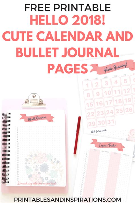 cute calendar  bullet journal printable