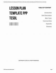 Lesson Plan Template Ppp Tesol By Johnnyjohnson2632