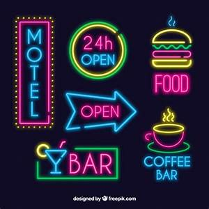 Set of bright neon signs Vector Free Download