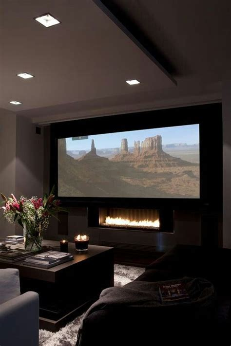 fireplace  drop  tv screen small home theaters