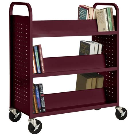Steel Bookcase by Sandusky Burgundy Mobile Steel Bookcase Sv336 03 The