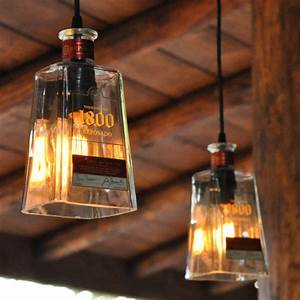 Recycled 1800 Tequila Bottle Pendant Lamps - The Green Head