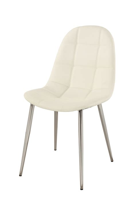 contemporary white upholstered side chair with chrome legs