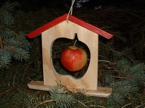 handmade apple bird feeder wood winter summer treat teacher gift unique fruit holder seed peanut