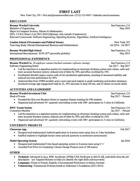 professional ats resume templates  experienced hires