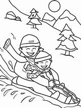 Coloring Sledding Winter Pages Printable Sheets Friends Potty Snow Worksheet Sled Christmas Activities Printables Parents Sheet Kindergarten Education Colouring Preschool sketch template