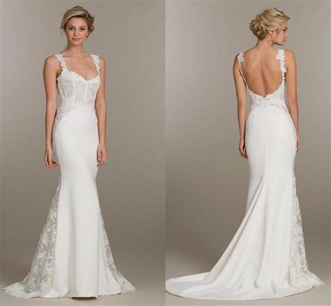sheath lace spaghetti straps wedding dresses bakcless with