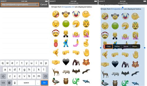 iphone emojis copy and paste enjoy the new unicode 9 0 emojis on ios right now with a