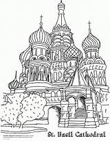 Coloring Pages Russia Russian Architecture Popular St sketch template