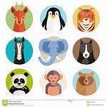 Animal Vector Icons Round Clipart Head Cartoon